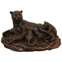 Meiji Period Tigress and Cubs Bronze