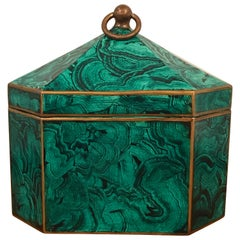 Regency Style Faux Malachite Tole Box