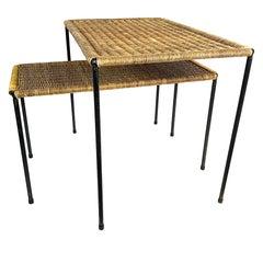 Pair of Midcentury Carl Auböck Wicker Top Coffee & Side Table, 1950s, Austria