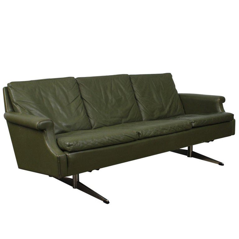 Danish Mid-Century Modern Green Leather Sofa with Metal Legs