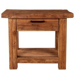Rustic Nightstand in Aged Teak Wood with a Natural Finish