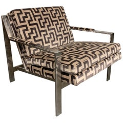 Cy Mann Baughman Style Chrome Flat Bar Lounge Chair