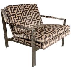 Cy Mann Baughman Style Chrome Flat Bar Lounge Chair