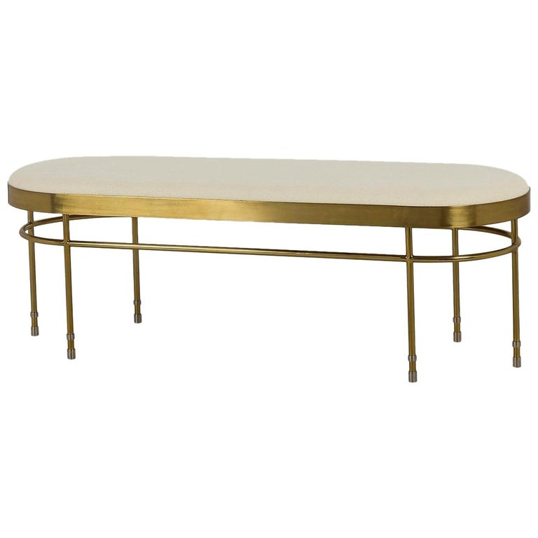 Art Deco Inspired Curved Bench Upholstered in Premium Wool with Brass Finishes For Sale