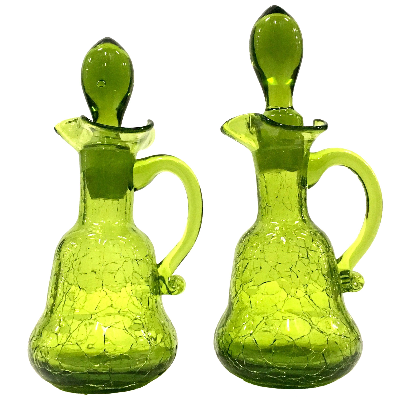Mid-20th Century Pair of Blenko Style Blown Crackle Glass Cruet Decanters