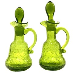 Mid-20th Century Pair of Blenko Style Blown Crackle Glass Cruet Decanters