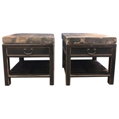 Chinese Stone Top Side Tables or Nightstands, a Pair