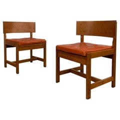 Pair of Danish Oak Leather Side Chairs