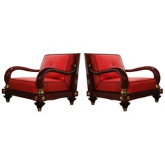 Octavio Vidales Mexican Modernism Club Chairs for Muebles Johrvy, circa 1950s