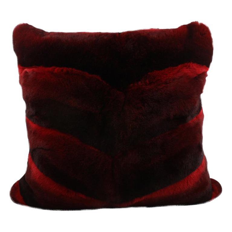 Chevron Red Castor Rex Rabbit Fur Pillow Euro Cushion