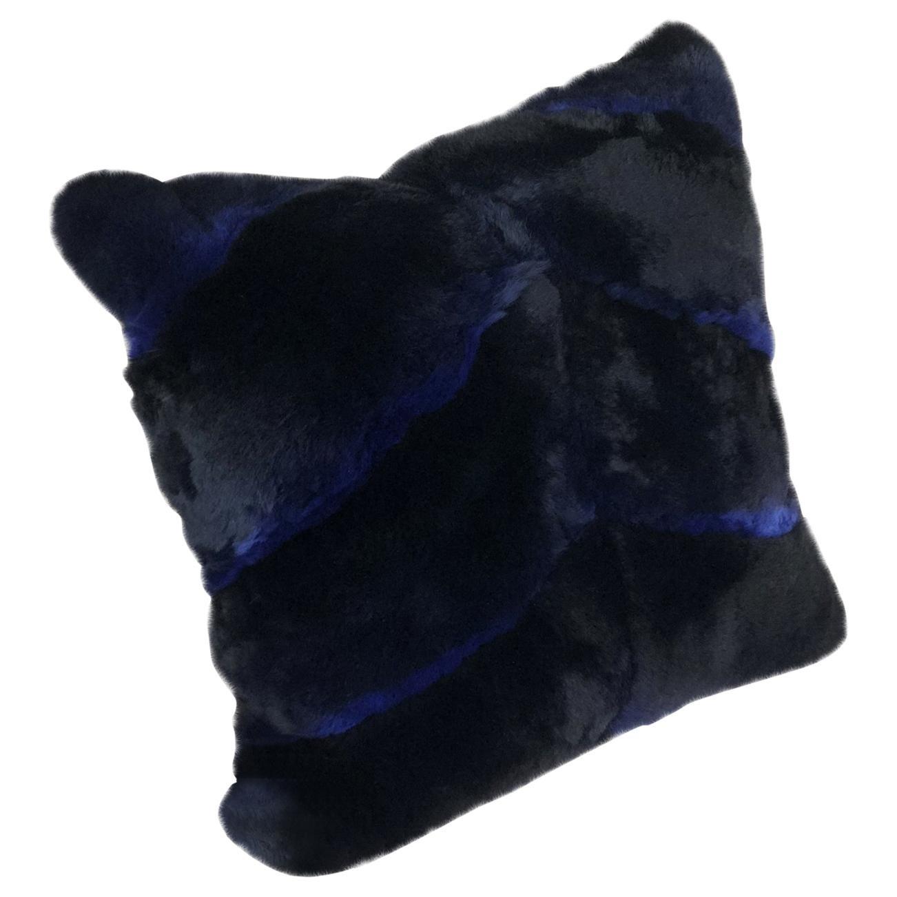 Chevron Blue Castor Rex Rabbit Fur Pillow Euro Cushion