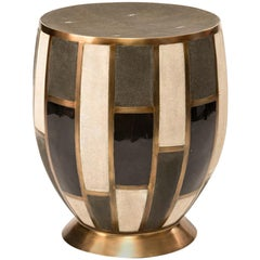 Tartan Stool in Shagreen/Shell/Agate & Bronze-Patina Brass by R & Y Augousti