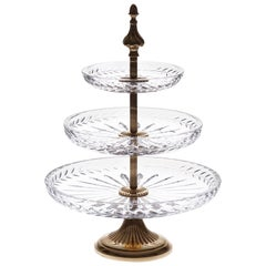 Crystal Display 3 Plates with Bronze Gold Platted