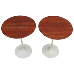 Amazing 1960s Eero Saarinen for Knoll Walnut Signed Side Tables