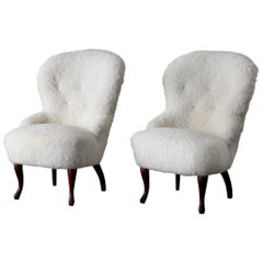 Chairs Sheepskin Swedish White, 20th Century, Sweden