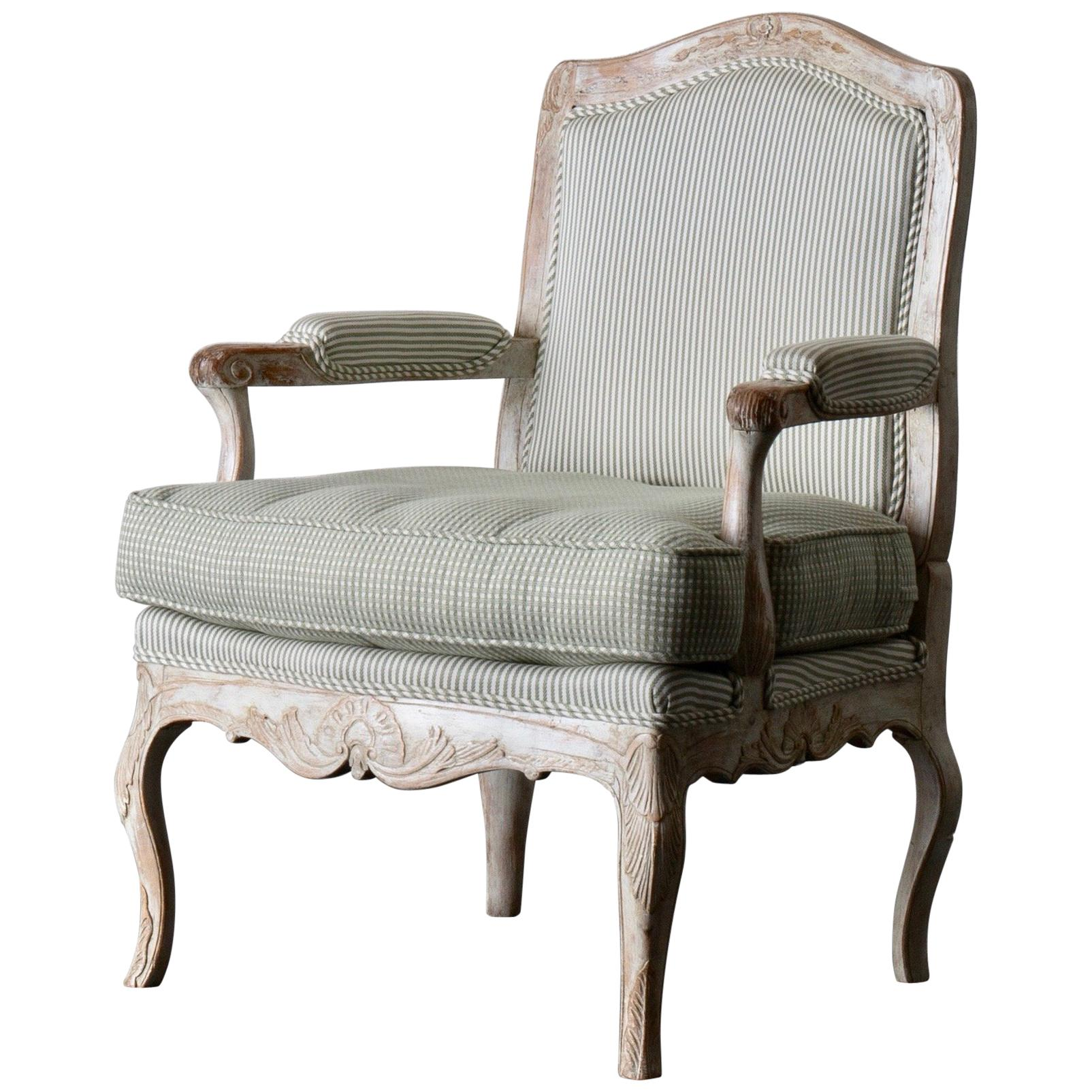 Armchair Rococo Swedish White Light Green, Sweden