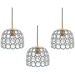 Refurbished Limburg One of Two Large Midcentury Iron and Glass Pendant Lamps
