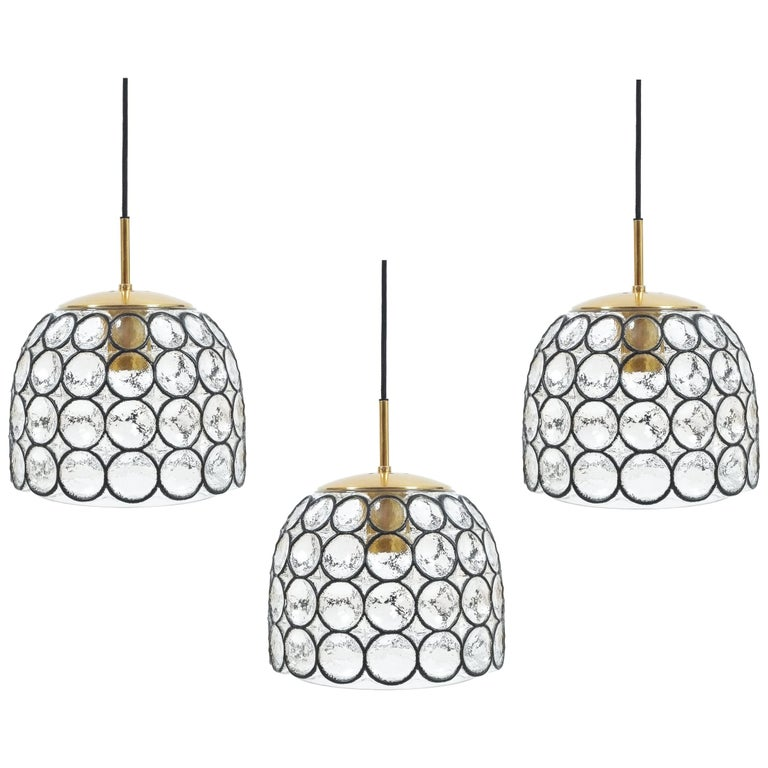 glash u00fctte limburg set of three large midcentury iron and glass pendant lamps for sale at 1stdibs
