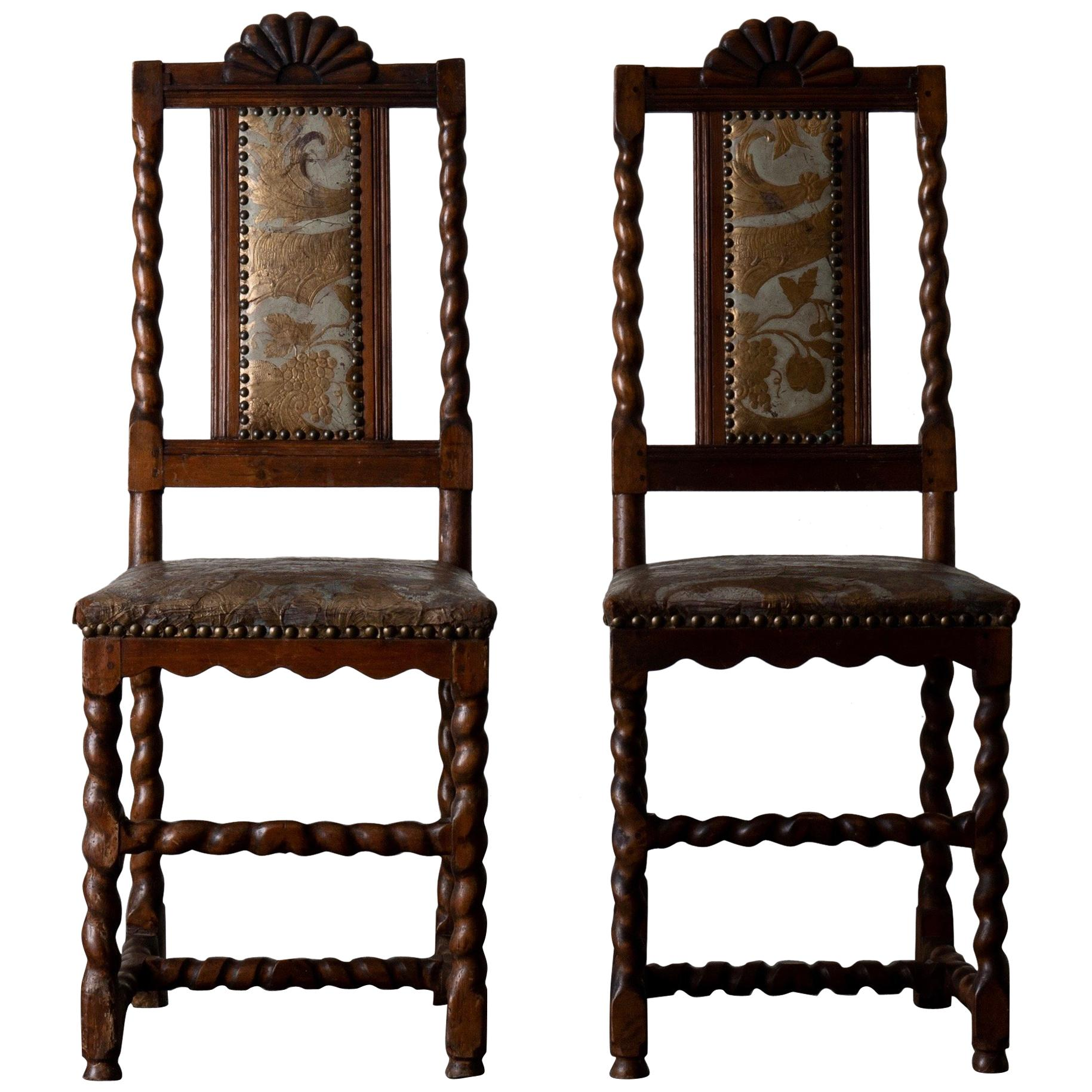 Chairs Swedish Baroque Oak Brown Gilt Leather Light Blue Sweden