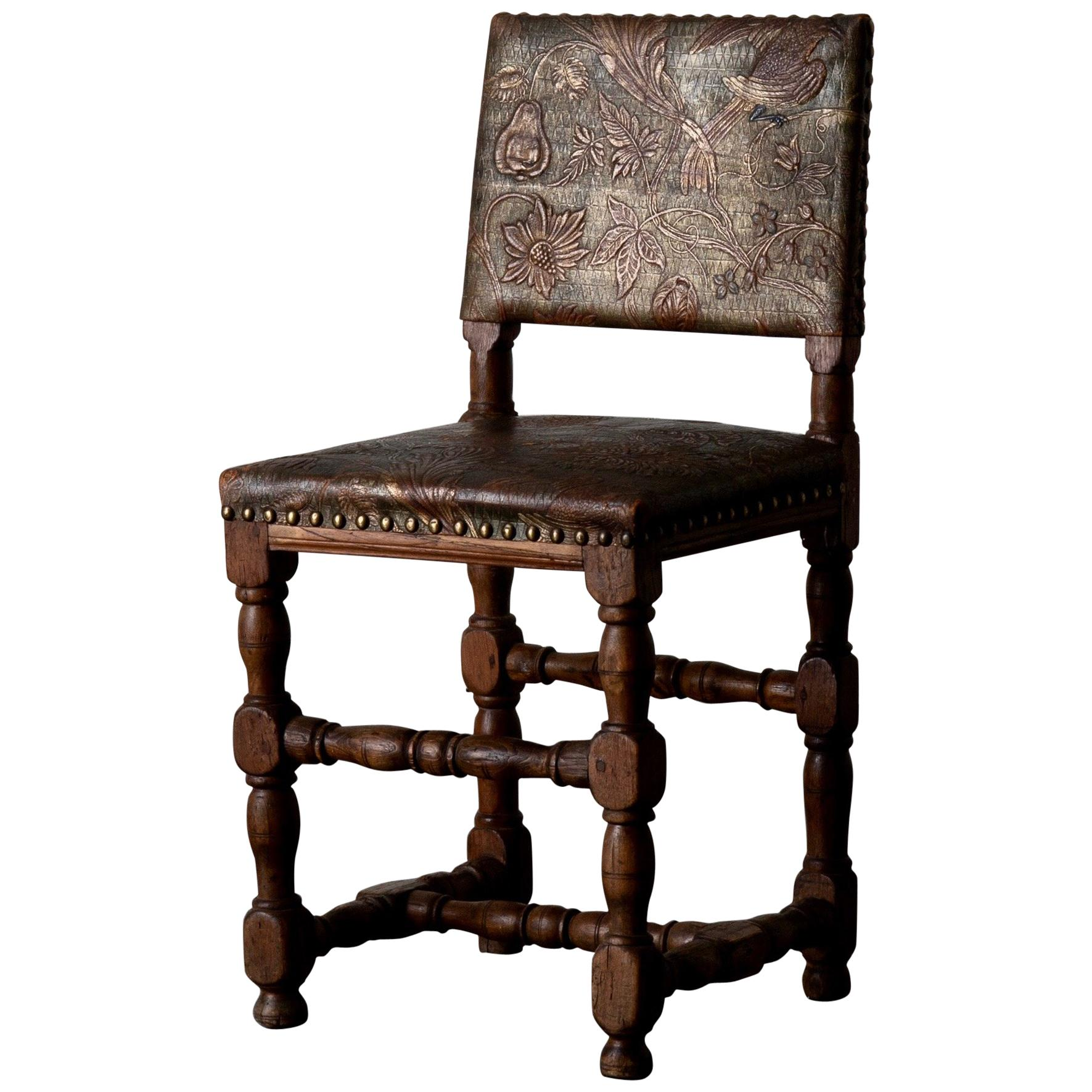 Chair Swedish Baroque Oak Gilt Leather Sweden