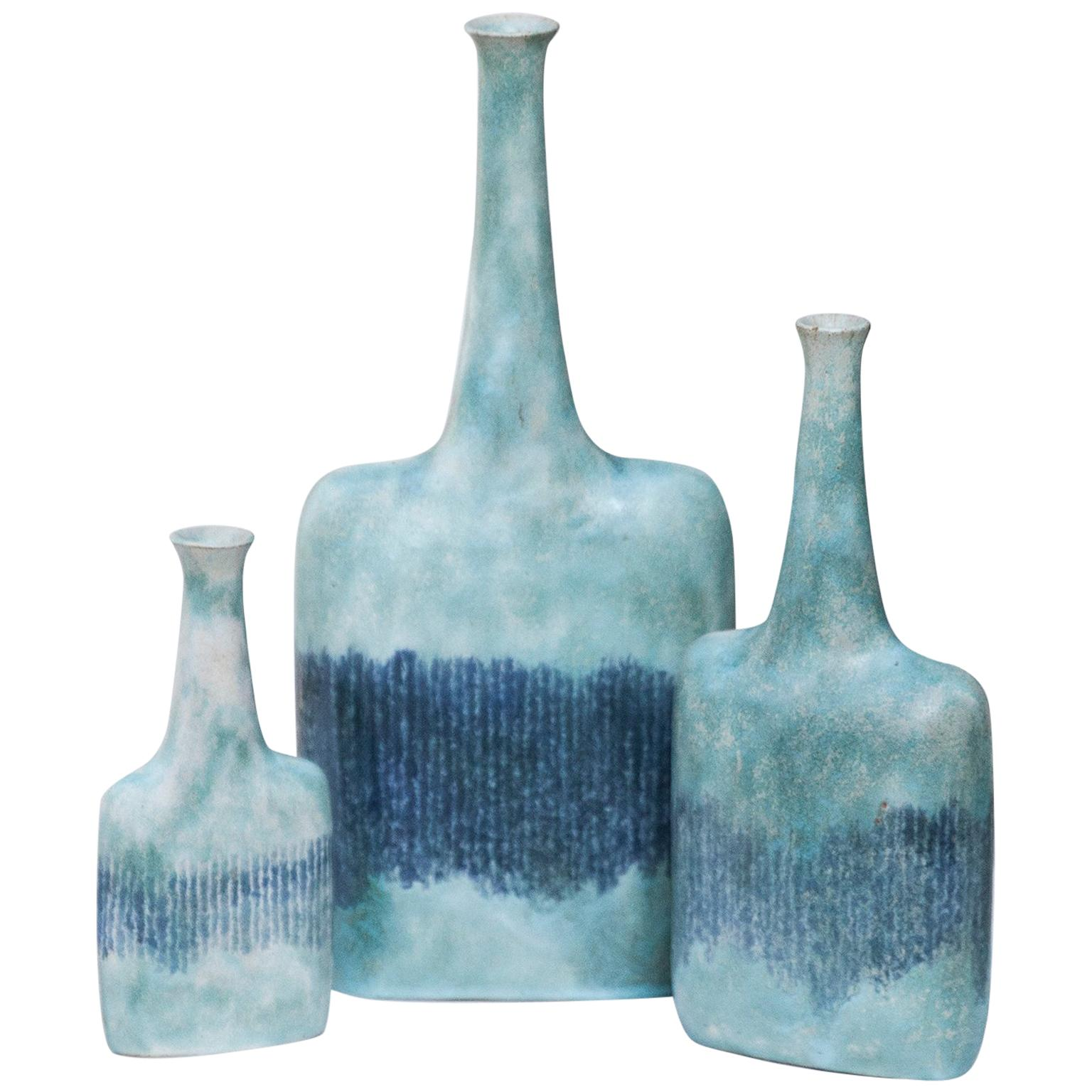 Huge Bruno Gambone Art Pottery Light Green Vase Set of 3