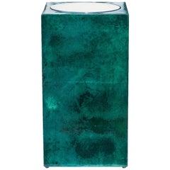 Aldo Tura Green Goatskin Umbrella Stand Vase