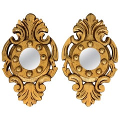 Spanish 1920s Rococo Style Carved Gold Leaf Giltwood Mirrors, a Pair
