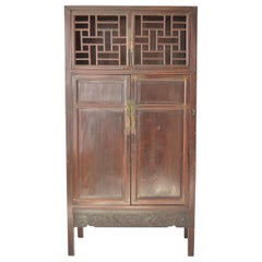 Antique Chinese Lacquered Cabinet with Lattice Work Doors, 19th Century