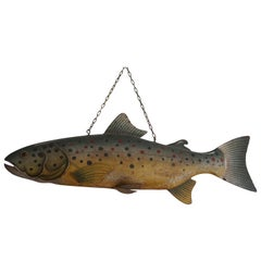 Large Unique & Hand Painted Antique Folk Art Metal Trout Sign from Fish Monger's