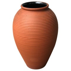 Limited Large Natural Brown Terracotta Handmade Vase Jar, Germany, 1950s