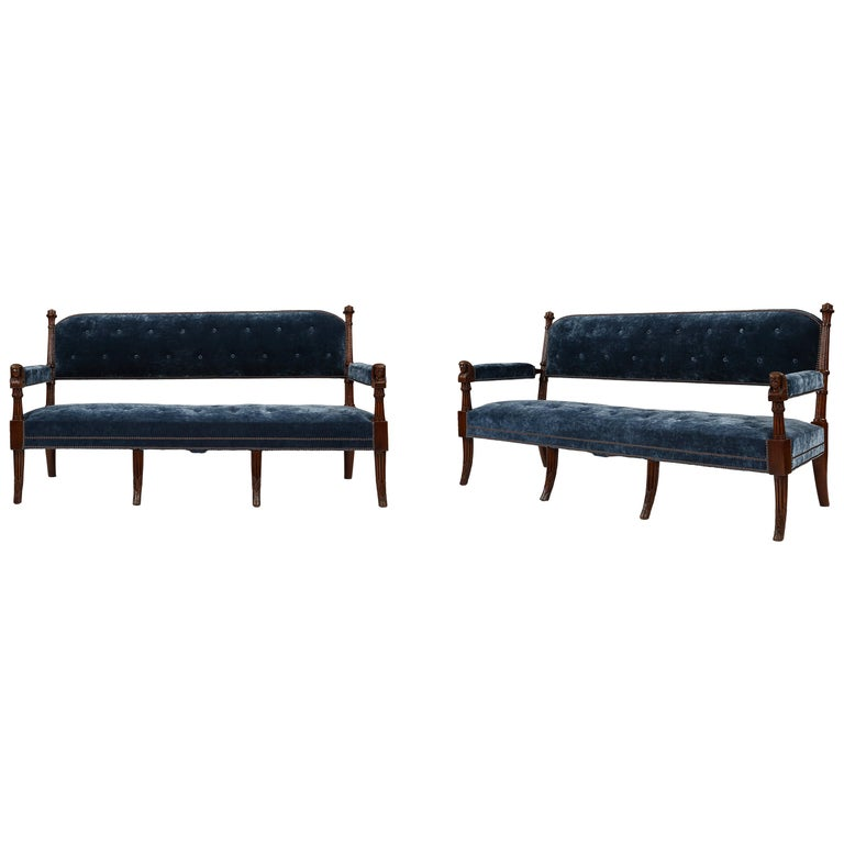 Pair of 19th Century Egyptian Style Settees For Sale