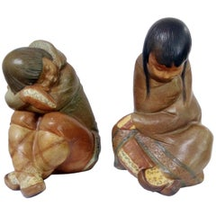 Mid Century Modern Lladro Gres Eskimo Boy and Girl, Spain, 1970s