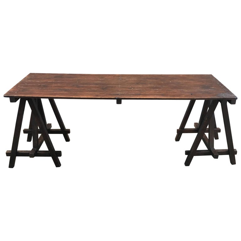Large Antique French Trestle Table, circa 1930 For Sale