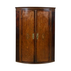 Antique Corner Cabinet, English, Georgian, Bow Fronted, Oak, Hanging, circa 1760