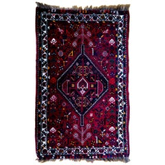 Red Anatolian Symbolic Design Authentic Dyed Wool Rug or Carpet or Kilim, Turkey