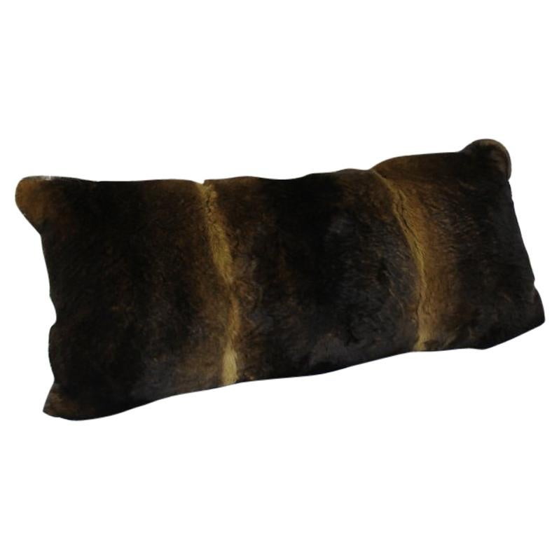 Golden Sand Brown Castor Rex Rabbit Fur Pillow Lumbar Cushion