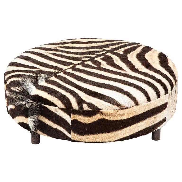 Zebra Hide Ottoman For Sale
