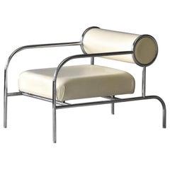 "Shiro Kuramata ""Sofa with Arms"" Lounge Chair, Steel, Leather, Cappellini, 1990s"