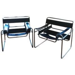 Breuer's Style Mid-Century Modern Chromed Tubular Steel Black Club Chairs, 1970s
