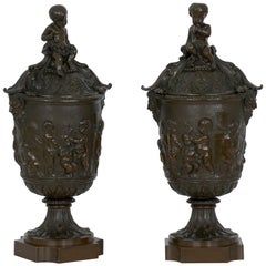 19th Century Pair of Napoleon III Grand Tour Bronze Urns in Manner of Clodion