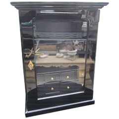 1860s Biedermeier Wall Cabinet Finished in High Gloss Black