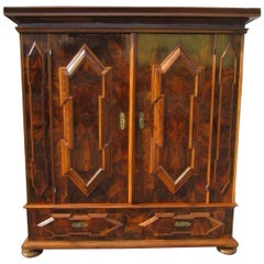 Original Antique Baroque Armoire or Hall Cabinet Dark Walnut