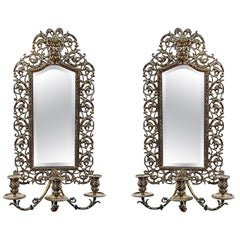Pair of 19th Century Brass Girandole Wall Mirrors