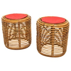 Set of 2 Midcentury Cylindrical Poufs after Franco Albini for Bonacina, Italy