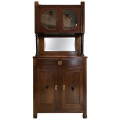 Dark Walnut Bookshelf Original Art Deco Cabinet with a Central Mirror