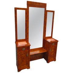 1920s Art Deco Dressing Table Poplar Burl with Mirror