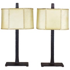 1950s Pair of Table Lamps, Wrought Iron, Parchment, Barcelona