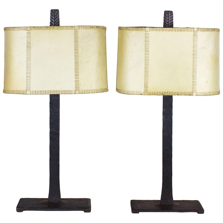 1950s Pair of Table Lamps, Wrought Iron, Parchment, Barcelona For Sale