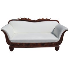 1830s Biedermeier Walnut Sofa with Walnut Ornamentations