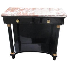 Empire Style Console Table in High Gloss Black with Red Marble Top